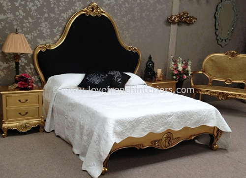 Louis Carved Bed in Gold